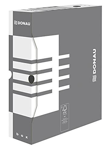 DONAU 7660301FSC 13 - Scatola archivio in cartone riciclato, 20 pezzi, formato A4/80 mm, larghezza dorso B, colore: Grigio