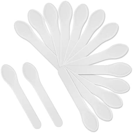 LONGWAY 100 Pack Cosmetic Mask Tip Spatula Mini Disposable Plastic Spoon Makeup Spatulas 3 86 product image