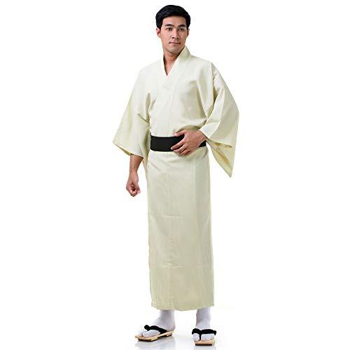 Princess of Asia Exklusiver & hochwertiger japanischer Herren Yukata Kimono Baumwolle M L XL Creme