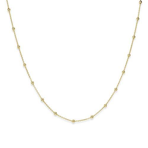 MATERIA Gold Kette Damen Kugelkette - 925 Silber Damenkette Goldkette vergoldet in Schmuck-Etui K104-45 cm
