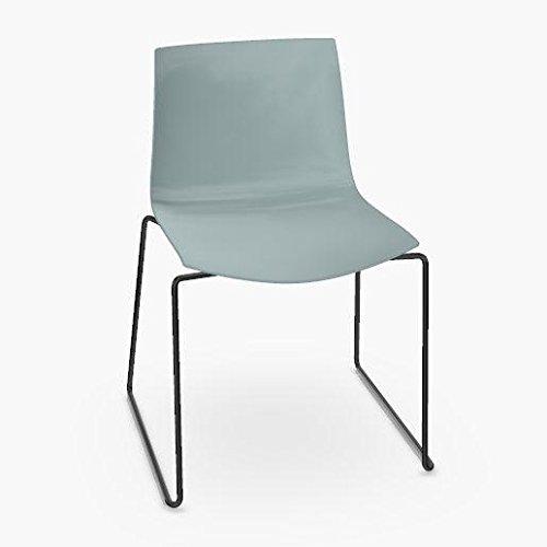 arper Catifa 46 0278 Stuhl einfarbig Kufe schwarz, Petrol Außenschale glänzend innen matt Gestell schwarz matt V39