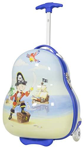 Trendyshop365 Kinder-Koffer Hartschale Pirat 41 Zentimeter 16 Liter 2 LED-Räder Handgepäck