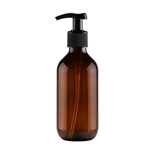 Beaupretty Botella Dispensadora de Jabón con Bomba Encimera Champú Loción Bomba Dispensador Contenedor para Baño de Viaje Cocina 300Ml (Marrón)