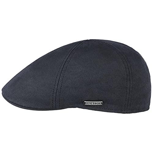 Stetson Texas Cotton-Mix Flatcap Herren - Made in Europe - Schiebermütze mit UV-Schutz 40+ - Schirmmütze mit Baumwolle - Cabrio Kopfbedeckung in Größen S-XXL - Frühjahr/Sommer dunkelblau L (58-59 cm)