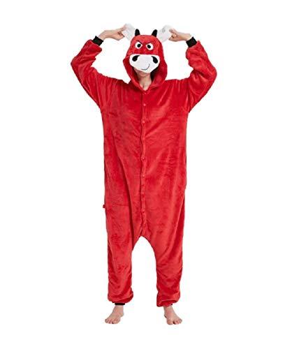 Ducomi Kigurumi Pigiami Costumi Divertenti - Pigiama Unisex Adulto Cosplay Costume Animale - Peluche Halloween e Carnevale Donna Uomo - Pigiamone Tuta Unicorno, Koala, Panda (Toro, S)