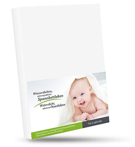 WhizProducts Spannbettlaken mit integriertem Matratzenschoner 70 x 140 cm (weiß) für Babybett - atmungsaktiv und wasserdicht - Spannbetttuch mit zuverlässigem Nässeschutz für Babys und Kinder