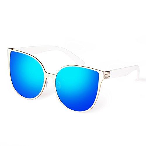 Smileyes Gafas De Sol Moda Ostentoso Con AC Lente UV400 Para Mujer (azul)