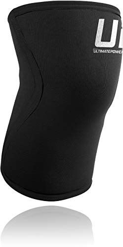 Ultimate Powerlifting Neoprene UP Knee Pads Black with White Logo FFForce Approved S 59 to 66kg