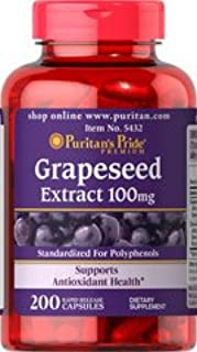 3 Pack: Puritan's Pride Grapeseed Extract 100MG 200 Capsules (600 Total).