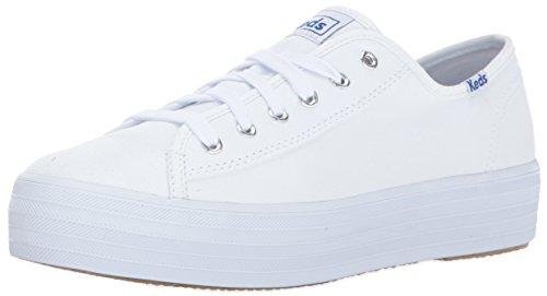 Keds Women's Triple Kick Canvas Fashion Sneaker,White,8.5 M US