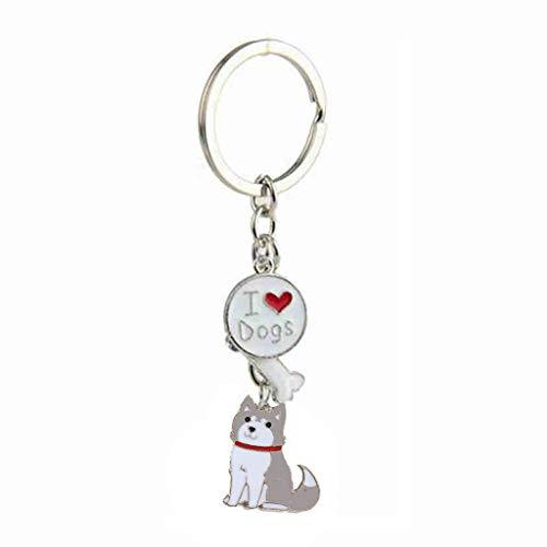 Xuniu Llavero, Amo a mi Perro Husky Mascota Cachorro Colgante Llavero joyería # 4