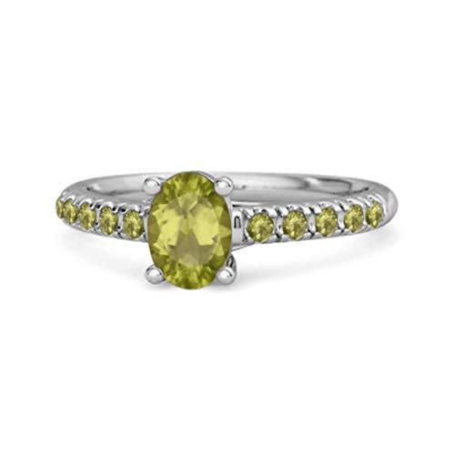 Shine Jewel Multi Elija su Solitario de Piedras Preciosas 1.70 Ctw Corte Ovalado Plata de Ley 925 Flotante Aureola Anillo (12, Peridoto)