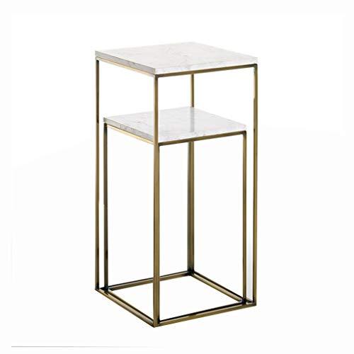 LiRuiPengBJ GWDJ Beistelltisch Nest of 2 Tische Mit Marmorplatte, Beistelltisch Mit Metallrahmen, Blumenständer Möbel Dekor für Wohnzimmer Schlafzimmer Balkon Ecktisch (Color : Gold)