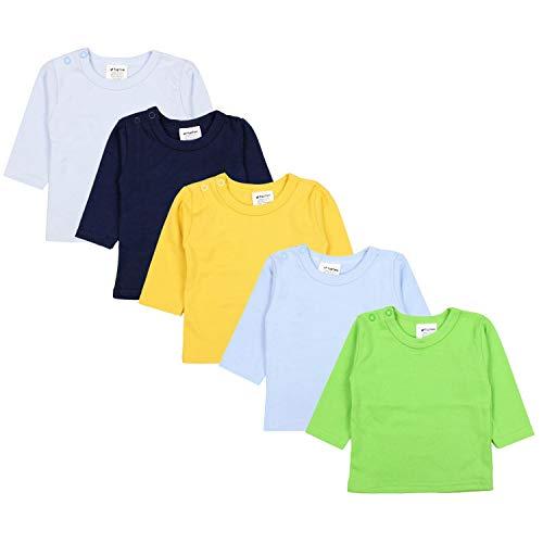 TupTam Baby Jungen Langarmshirt Gestreift 5er Set, Farbe: Mehrfarbig 2, Größe: 62