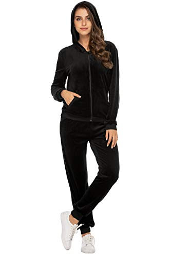 Hotouch Ladies Tracksuits Athletic Soft Velour Velvet Hoodie Sweatshirt and Sweat Pants Set Black S