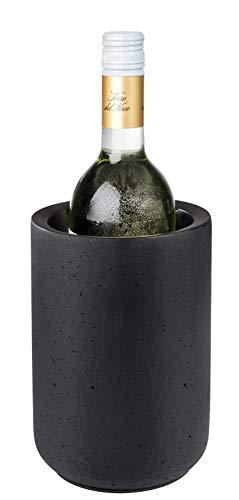 APS Flaschenkühler ELEMENT aus Beton - mit möbelschonender Unterseite - für 0,7-1,5 Liter-Flaschen - Ø 12/10 cm, Höhe 19 cm, Schwarz