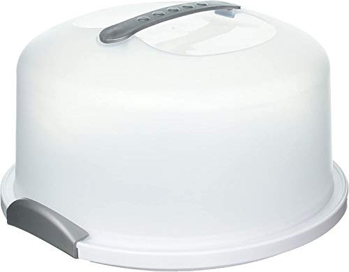 XL Cake Carrier/Storage Container With Server Holds up to 12 inch 3-layer cake, White & Gray Translucent Dome - Transports Cakes, Pies, or Other Desserts