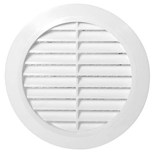 Lüftungsgitter Rund Insektennetz Abluftgitter Insektenschutz Kunststoff Ø 70 mm weiß