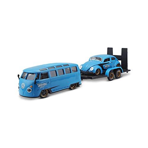 Maisto Design Elite Transporter Volkswagen Van Samba + Volkswagen Beetle: Modelo transportador con Remolque, 2 Coches Modelos, Puertas para Abrir, Escala 1:24, 43 cm, Azul (532752), 532751