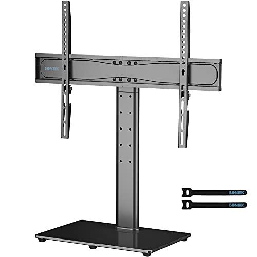 BONTEC Soporte Pie TV de Pedestal Superior de Sobremesa Universal con Soporte para Televisores LCD/LED/Plasma de 32-65 Pulgadas - Altura Ajustable Carga 45 KG y máximo VESA 600x400 mm