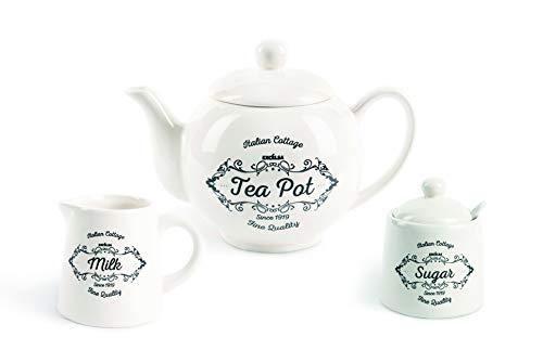 Excelsa Fine Quality Set da tè: Teiera, Zuccheriera e Lattiera, Ceramica