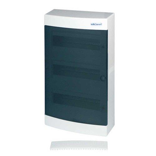 REV KLEINVERTEILER Aufputz ǀ AP-Sicherungskasten 3-reihig mit 36 Modulen ǀ Verteilerkasten IP40 ǀ Farbe: weiß mit Tür transparent