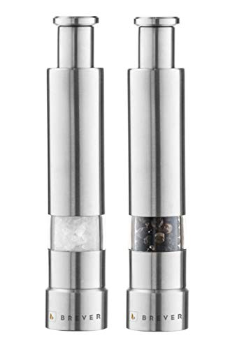 BREVER Original MINI Stainless-Steel One-Handed Thumb Push Button Salt and Pepper Grinder For Black Pepper and Himalayan Salt - Set of 2 Mills