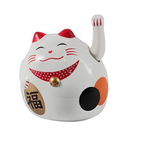 Superfreak Glückskatze - Maneki-Neko - rundliche Winkekatze 8 cm - weiß