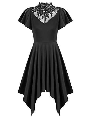 Womens Plus Size Dress Midi Length Medieval Goth Punk Costumes Dresses Black XXL