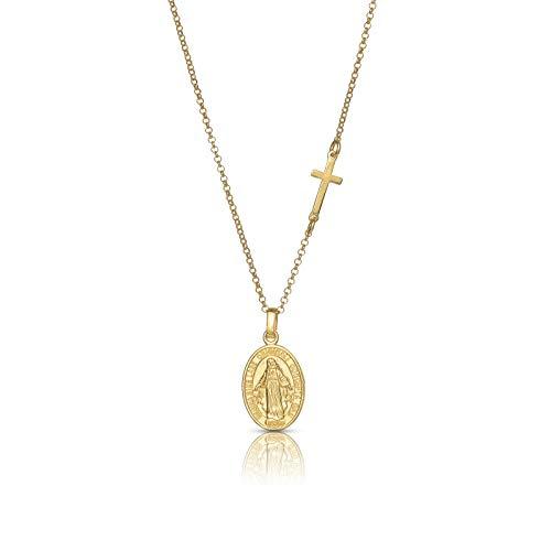 Nanna Folk - Collar Medalla Virgen Milagrosa Plata de Ley con Cruz, Colgante Mujer Chapado en Oro, Regalos Originales, Mujer, niña, Adolescente, Collar con extensión alargadora