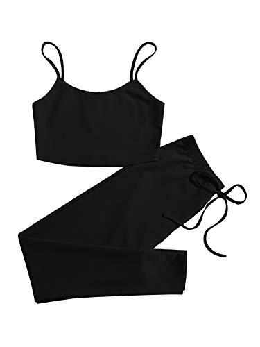 DIDK Damen Leggings und Top Sets 2 Piece Spaghettiträger Bauchfrei Tops Skinny Hose Sportswear-Set Fitness 2-Teiler Trainingsanzug Schwarz M