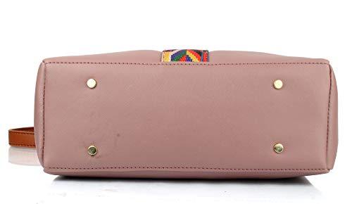 Mammon Women's PU Leather Handbag Combo (set of 4) (Pink)