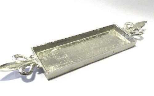 Colmore Schale Platte Deko Teller Rechteckig Lilie XL Griff Silber Metall 66 cm