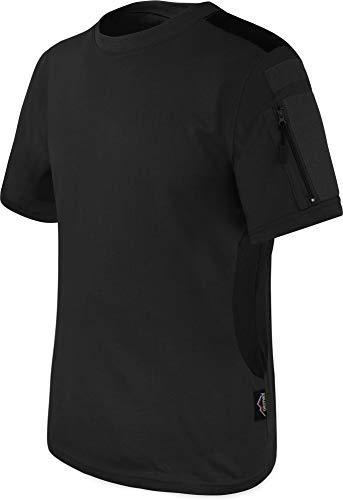 T-Shirt BDU Tactical Kurzarm Kampfshirt mit Klettflächen, Reißverschlusstaschen am Arm und seitlicher MESH-Einsatz - Combat Short Sleeve Farbe Schwarz Größe XL