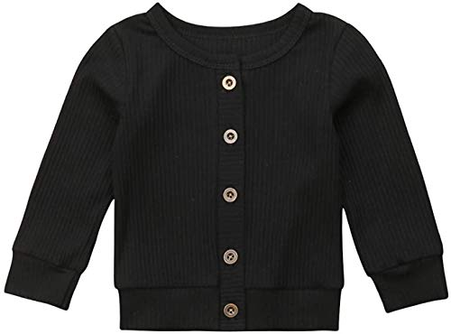 Bravoy kindje meid jongen trui met knopen Sweater Soft Basic Knit Jacket Snap Cardigan jas uitloper (Black, 70)