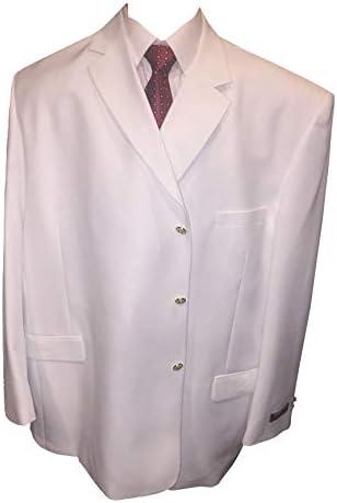 62 Long Italian Styled Pure White 3 Button Blazer High Fashion 62L