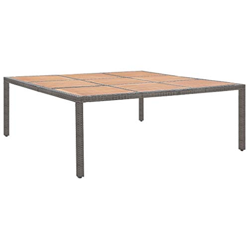 vidaXL Acacia Wood Garden Table Outdoor Heavy Duty Dining Table Dinner Desk for Terrace Patio Home Wooden Furniture Grey Poly Rattan