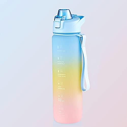 Botella de Agua de Gran Capacidad de 34oz Bebida a Prueba de Fugas, BPA -Free, Adecuado para Fitness, Gimnasio y Deportes al Aire Libre (Arco Iris). (Color : Silver)