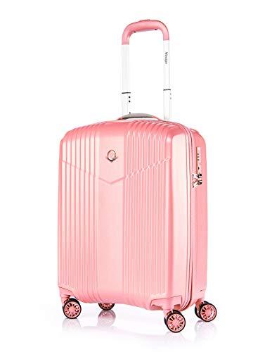 ABISTAB VERAGE V-LITE Ultraleicht Hartschalenkoffer Ab 1,9kg 4 Doppelrollen TSA Schloss, Handgepäckkoffer S-55cm 37L, Bordgepäck Reisekoffer ABS/PC Trolley, Pink