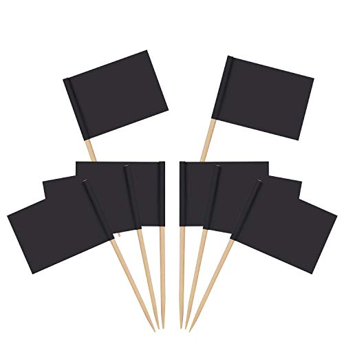 Senkary 100 Pack Blank Toothpick Flags Paper Flag Picks Cheese Markers for Cupcake, Food, Fruit, Party Decorations (Black)