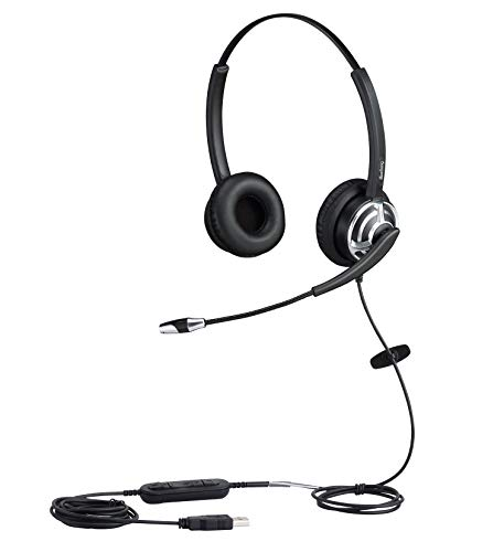 Beebang Binaural USB Headset with Noise Cancelling Microphone for Skype Microsoft Lync Speech Recognition