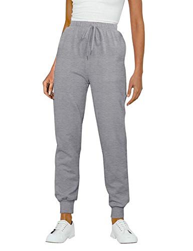 MEROKEETY Joggers for Women with Pockets, High Waist Workout Sweatpants Comfy Causal Lounge Pants LightGrey