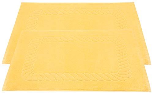 ZOLLNER 2 Alfombrillas de baño, 50x70 cm, Amarillo, algodón