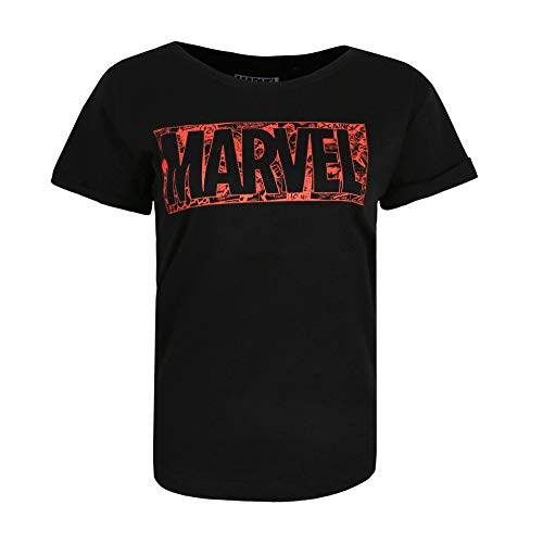 Marvel Comic Logo T-Shirt, Nero (Nero Nero), XL Donna
