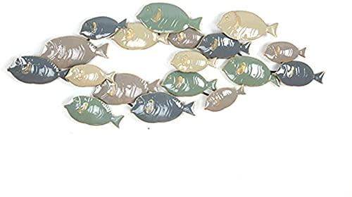 LLC- SUDA Wanddeko Metall, Metallwanddekoration, dreidimensionale Anhänger schmiedeeiserne Fisch-Wandkunst, Haus-Ziermauer 3D modern 2 Stil (Farbe: 121.9x47cm) (Color : 121.9x47cm)