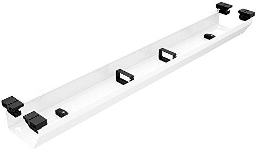 Metall Kabelkanal Schreibtisch Kabeldurchlass zur Aufnahme von Steckdosenleisten | Länge 1224 mm | Stahl weiß RAL 9016 | MADE IN GERMANY | 1 Set - Kabel-Durchführung Management Untertisch-Montage