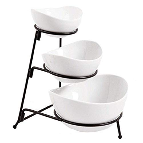 Partito Bella 3 Tier Bright White Oval Bowl Set with Collapsible Thicker Metal Rack