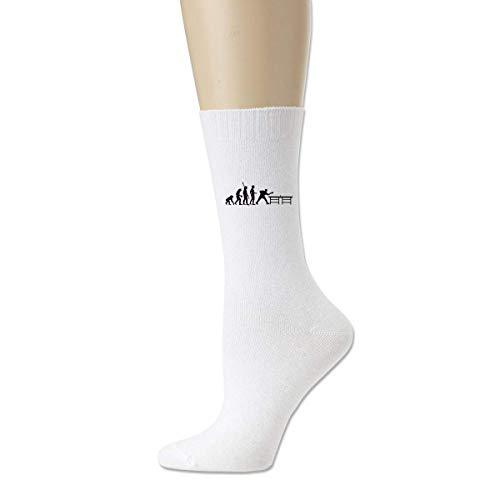 Felsiago Calcetines casuales de algodón para adultos de la evolución del tenis de mesa blanco Medias de tobillo al aire libre