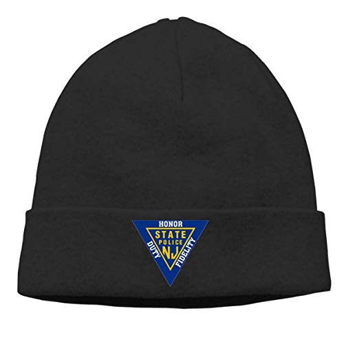NGHJ FUL NJ State Police Neutral Warm Winter Hat Knitted Beanie Urinal Hat Skull Hat Black