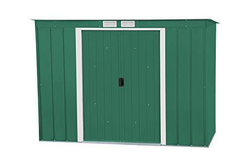 Duramax ECO Pent Roof 8 x 4 Hot-Dipped Galvanized Metal Garden Tool Storage Shed-Green with Off-White Trimmings